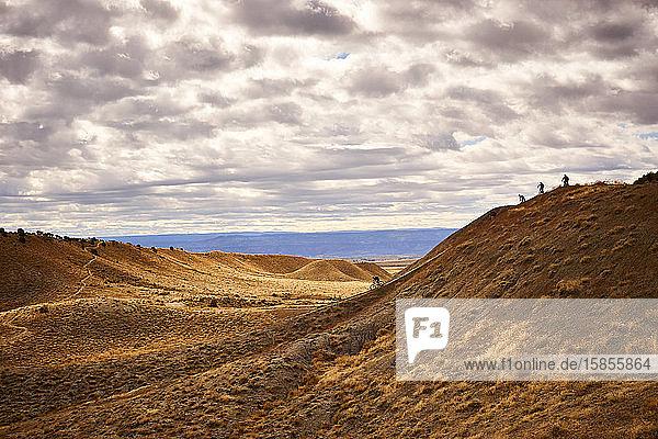 Mountainbiker fahren einen steilen Streckenabschnitt in Fruita  CO.