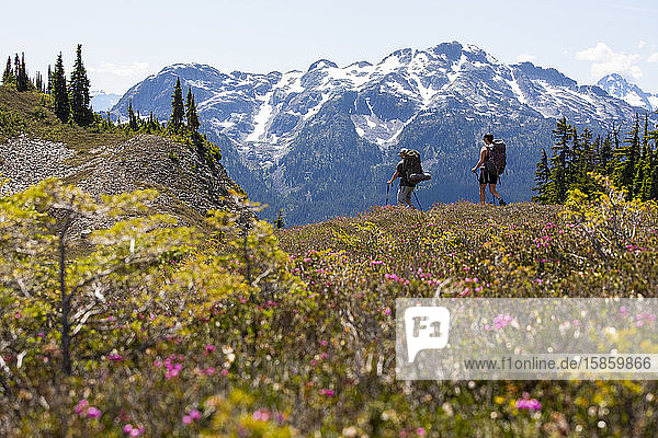Ein Ehepaar wandert einen Pfad entlang  um eine Nacht in den Bergen zu zelten.