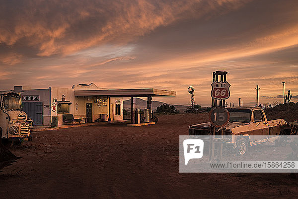 Abandoned gas station and garage at sunset  Cape Town  South Africa