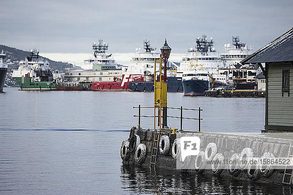 Oil industry vessels in dock  Bergen  Norway  Scandinavia  Europe