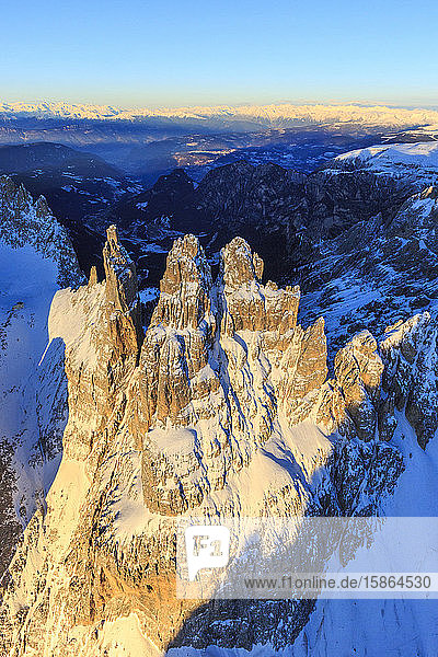 Aerial view of Catinaccio Group and Vajolet Towers at sunset  Sciliar Natural Park  Dolomites  Trentino-Alto Adige  Italy  Europe