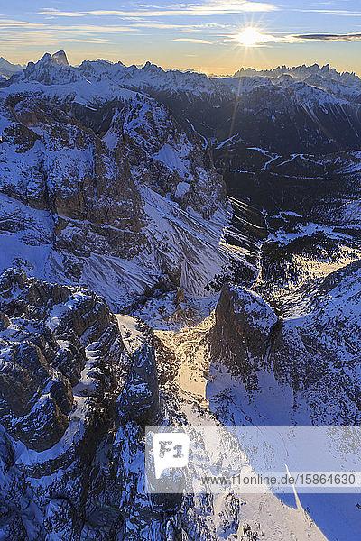 Aerial view of Catinaccio Group at sunset  Sciliar Natural Park  Dolomites  Trentino-Alto Adige  Italy  Europe