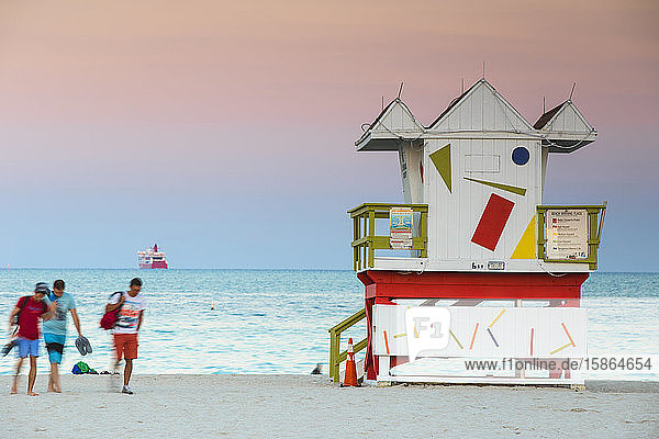 Life guard beach hut  South Beach  Miami Beach  Florida  United States of America  North America