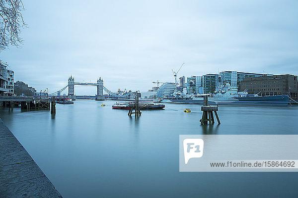 River Thames and HMS Belfast  London  England  United Kingdom  Europe