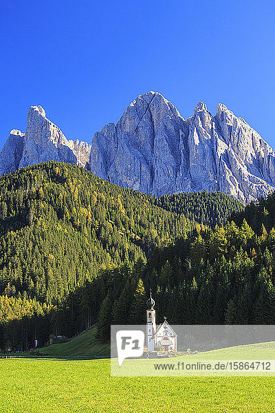 Church of Ranui surrounded by green meadows in autumn  St. Magdalena  Funes Valley  South Tyrol  Dolomites  Italy  Europe