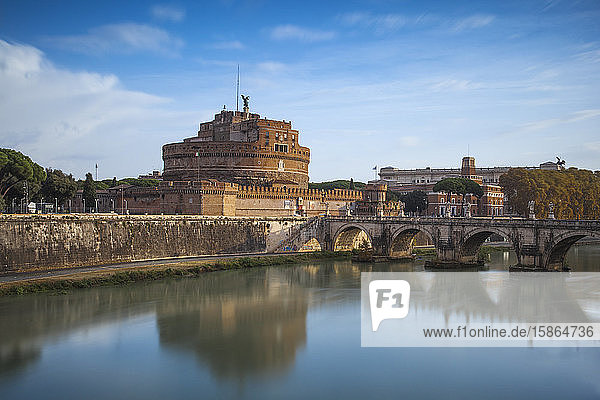 View of St. Angelo bridge over the River Tiber  and Castle St. Angelo (Hadrian's Mausoleum)  Rome  Lazio  Italy  Europe