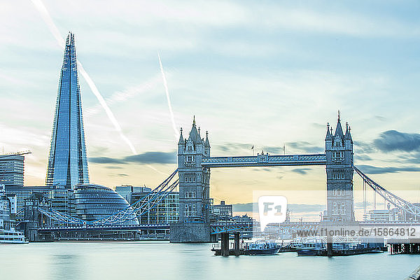 Tower Bridge on the River Thames and the Shard  London  England  United Kingdom  Europe