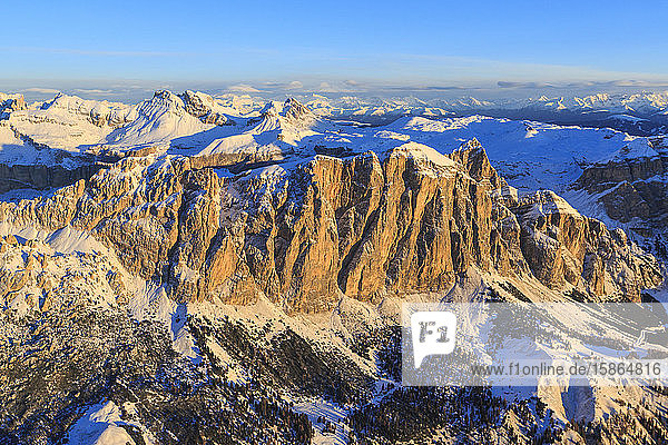 Aerial view of the Odle at sunset  Gardena Valley  Dolomites  Trentino-Alto Adige  Italy  Europe