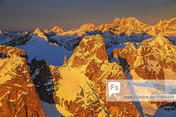 Aerial view of peaks Torrone and Bernina Group at sunset  Masino Valley  Valtellina  Lombardy  Italy  Europe