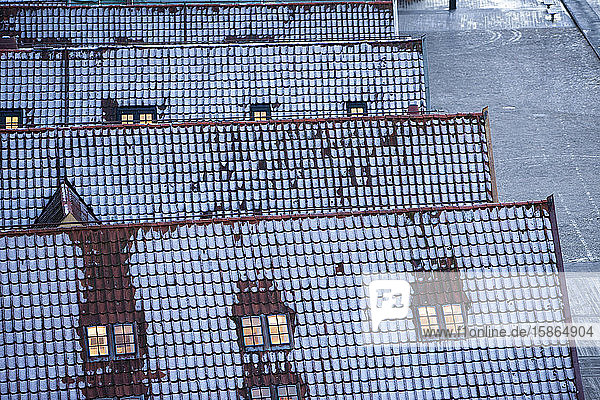 Winter rooftops  Bergen  Norway  Scandinavia  Europe