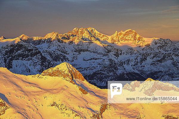 Aerial view of peak Baroni and Bernina Group at sunset  Masino Valley  Valtellina  Lombardy  Italy  Europe