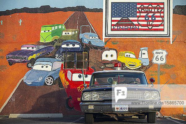 Old Police car on Route 66  Kingman  Arizona  United States of America  North America