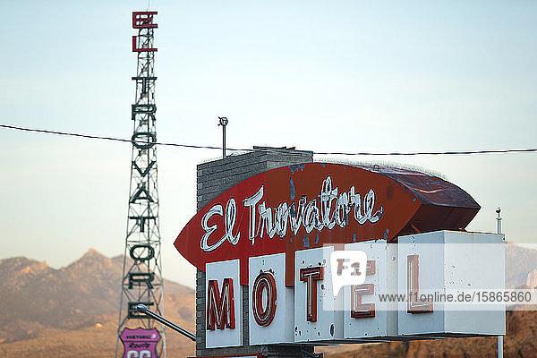 Motel Sign on Route 66  Kingman  Arizona  United States of America  North America
