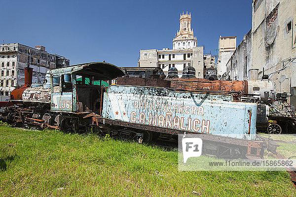 Rusting steam train  Havana  Cuba  West Indies  Caribbean  Central America