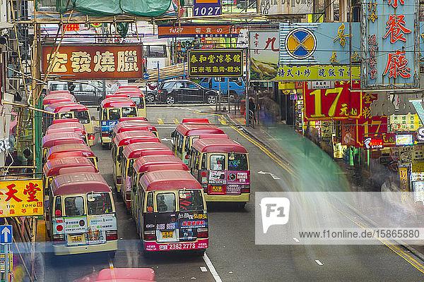 Waiting buses in Kowloon  Hong Kong  China  Asia