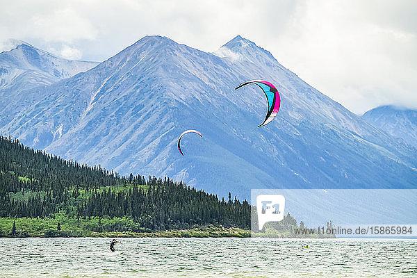 People kite surfing on Bennett Lake; Carcross  Yukon  Canada