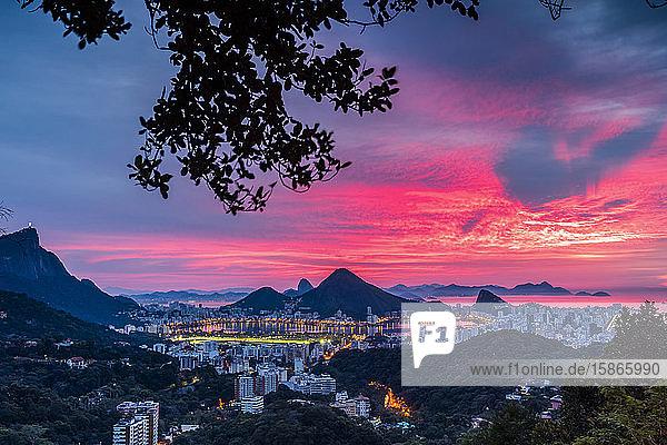 Sunset over Rio De Janeiro and Sugarloaf Mountain; Rio de Janeiro  Rio de Janeiro  Brazil