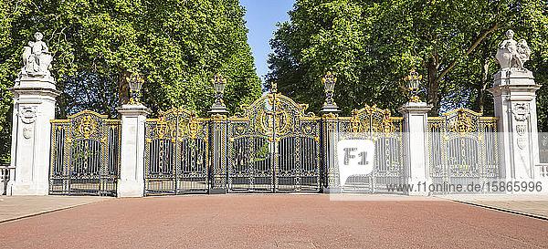 Ornate and decorative gates to Buckingham Palace; London  England