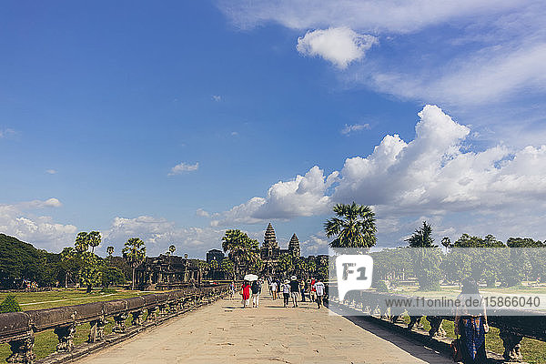 Tourists and worshipers at Angkor Wat Temple; Siem Reap  Siem Reap  Cambodia