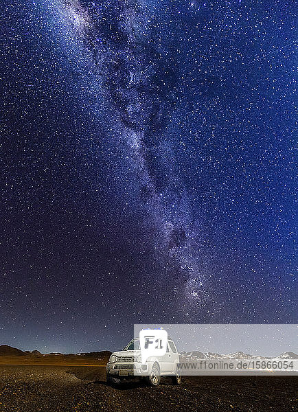 Starry night in the Altiplano landscape; Potosi  Bolivia