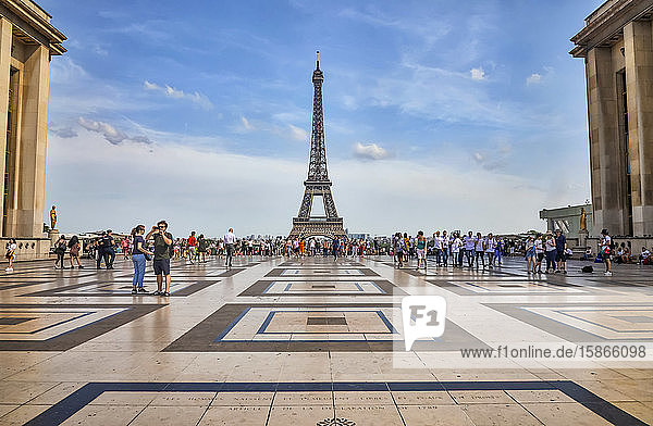 Tourists in the Palais de Chaillot and a view of the Eiffel Tower; Paris  France