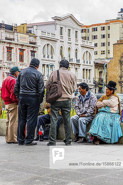 Friends meeting in the street; La Paz  Pedro Domingo Murilla  Boliva