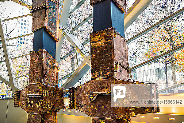 Original beams from the World Trade Center  National September 11 Memorial and Museum; New York City  New York  United States of America
