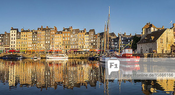 Boats and buildings reflected in the tranquil water of the harbour; Honfleur  Normandy  France