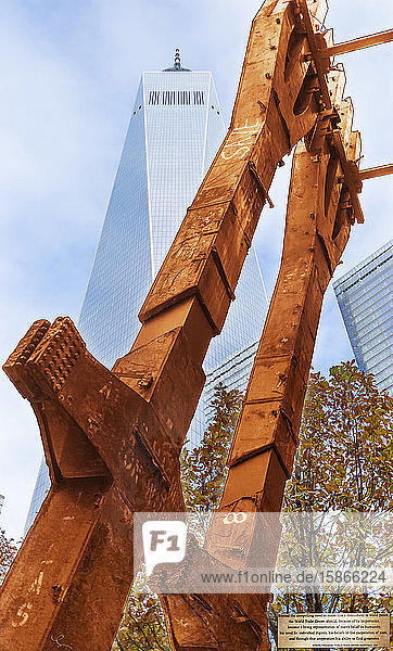 A remnant of the iron pillars from the original World Trade Center laid overtop of the current World Trade Center with a quote from the architect of the first World Trade Center  Minoru Yamasaki; New York City  New York  United States of America