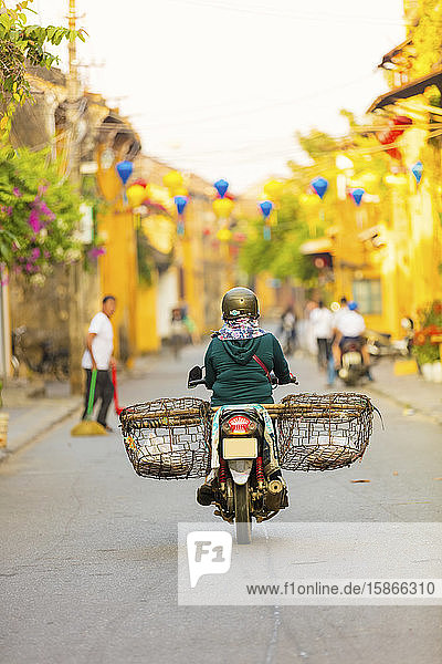 Morning in the streets of Hoi An; Hoi An  Quang Nam Province  Vietnam