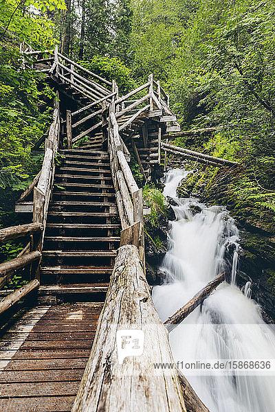 Waterfall in Canyon des Portes de l'Enfer; Saint-Narcisse-de-Rimouski  Quebec  Canada