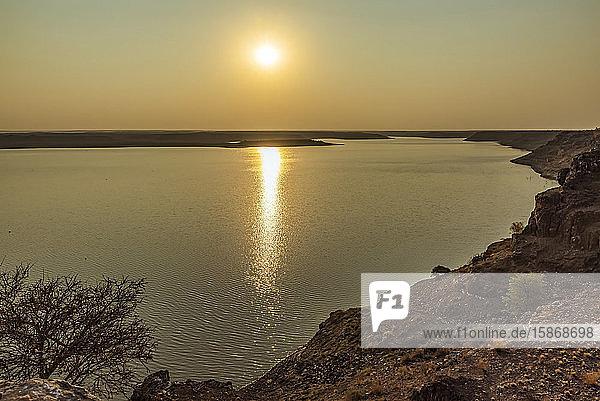 Hardap Dam at sunset; Hardap Region  Namibia