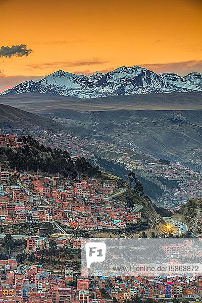 Andes mountains around La Paz at sunset; La Paz  Pedro Domingo Murillo  Boliva