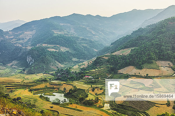 Rice terraces  fields and mountains in Cao Bang; Cao Bang Province  Vietnam