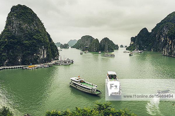 Ha Long Bay with boats; Quang Ninh Province  Vietnam