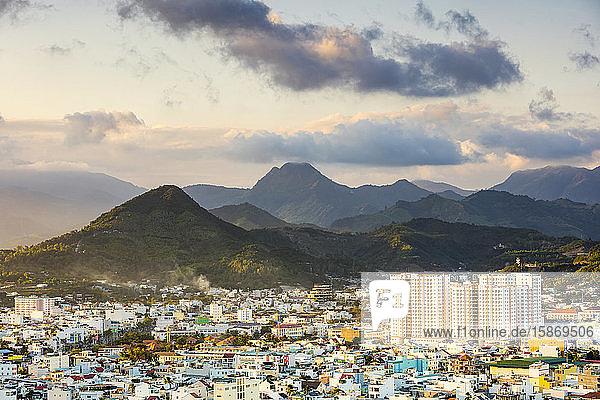 Cityscape and mountains of Nha Trang; Nha Trang  Khanh Hoa Province  Vietnam