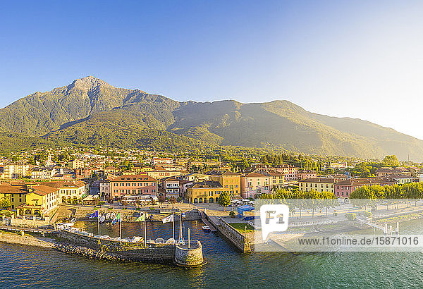Aerial view of Colico village at sunset  Lake Como  Lombardy  Italian Lakes  Italy  Europe