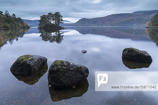Reflective Derwent Water at dawn in the Lake District National Park  UNESCO World Heritage Site  Cumbria  England  United Kingdom  Europe