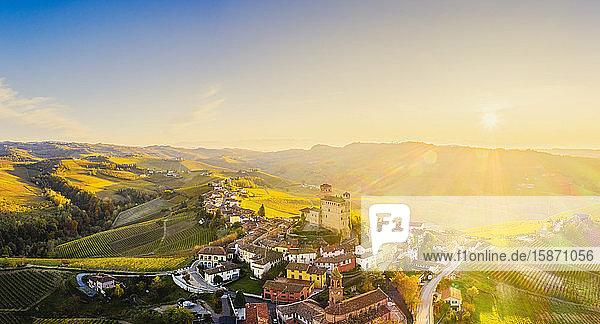 Aerial view of Serralunga d'Alba at sunset  Barolo wine region  Langhe  Piedmont  Italy  Europe