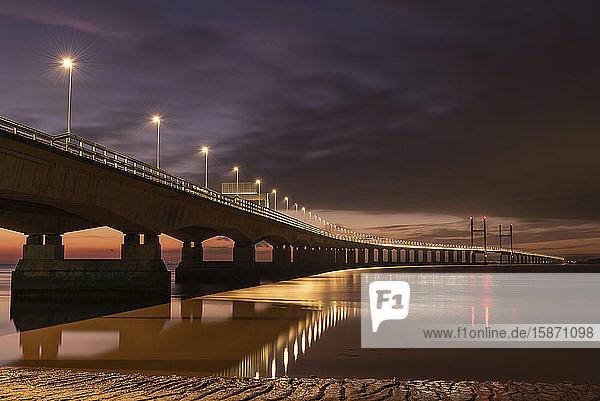 Twilight over an illuminated Prince of Wales Bridge  Gloucestershire  England  United Kingdom  Europe