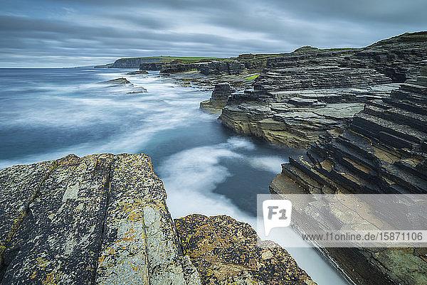 Dramatic coastal scenery on the north coast of Orkney  Scotland  United Kingdom  Europe