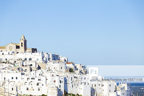 The white village of Ostuni called The White City  Ostuni  Apulia  Italy  Europe