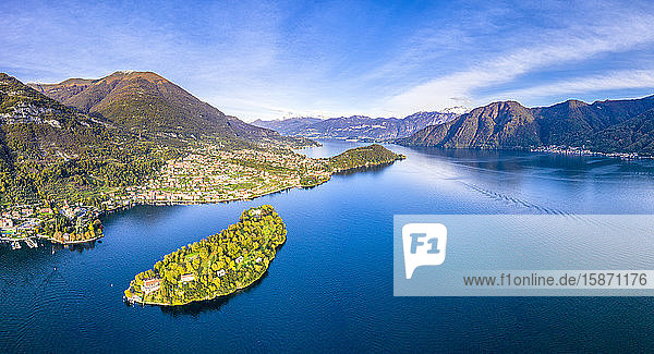 Aerial view of Comacina Island and Tremezzina in autumn  Lake Como  Lombardy  Italian Lakes  Italy  Europe