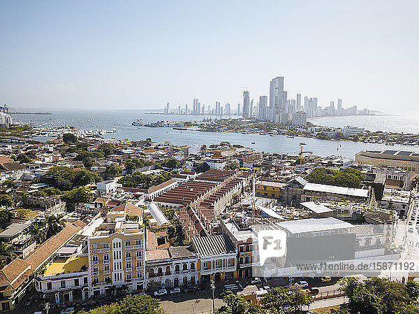 Aerial view by drone of Cartagena  Bolivar Department  Colombia  South America