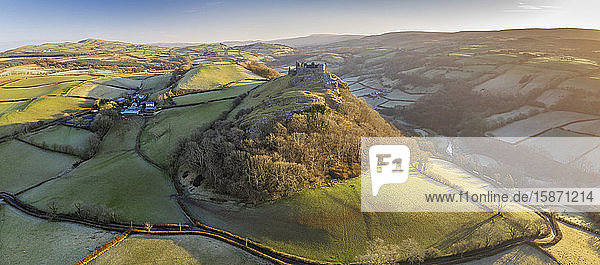Aerial vista by drone of Carreg Cennen Castle  Brecon Beacons National Park  Carmarthenshire  Wales  United Kingdom  Europe