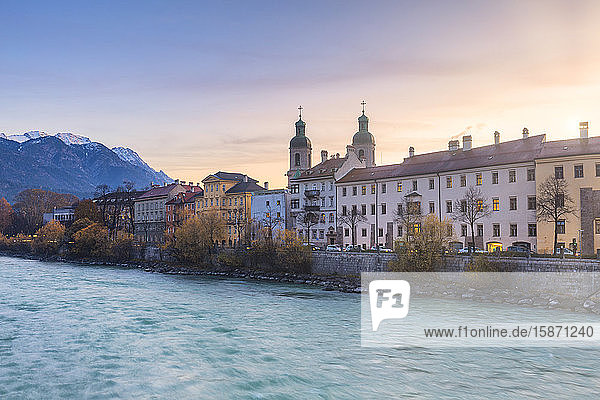 Cathedral of St. James and Inn River at sunrise  Innsbruck  Tyrol  Austria  Europe