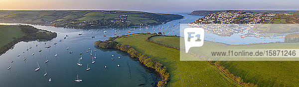 Aerial view by drone of Kingsbridge Estuary and Salcombe in Devon  England  United Kingdom  Europe