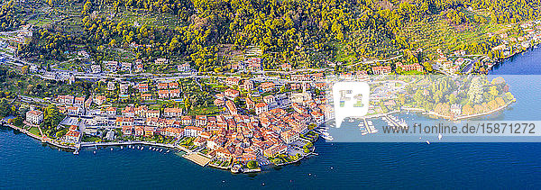 Aerial view of Sala Comacina  Lake Como  Lombardy  Italian Lakes  Italy  Europe