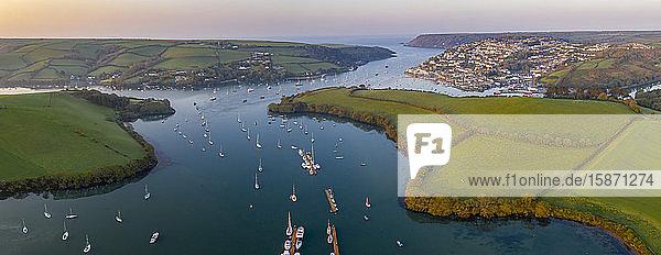 Aerial panorama by drone of Kingsbridge Estuary and Salcombe  South Hams  Devon  England  United Kingdom  Europe