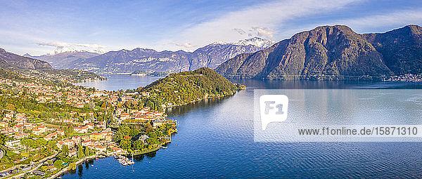 Aerial view of Tremezzina villages in autumn  Lake Como  Lombardy  Italian Lakes  Italy  Europe